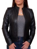 Stylish Design Women Black Leather Jacket