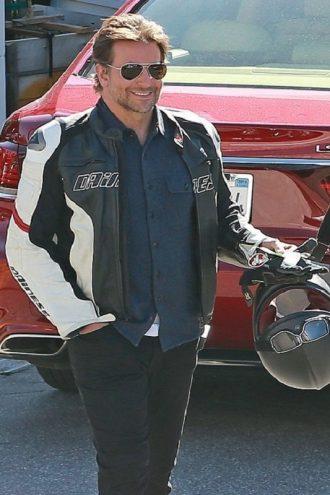 Bradley Cooper Racing Moto Biker Leather Jacket