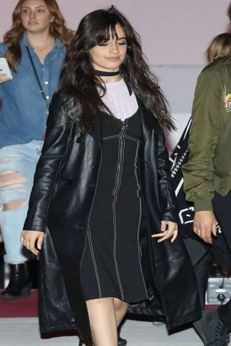 Singer Camila Cabello Black Leather Coat