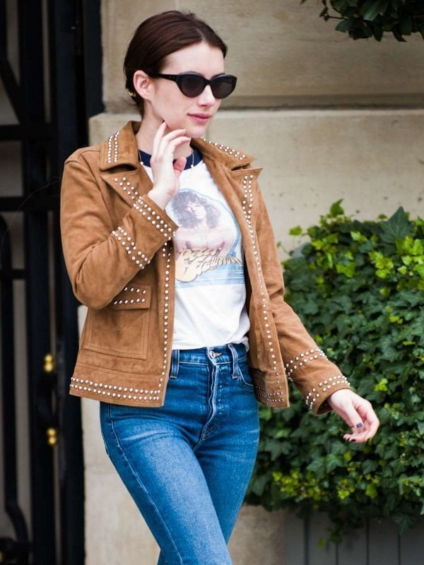 Emma Roberts Suede Brown Leather Jacket Top Celebs Jackets
