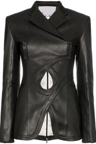 Fancy-women-Black-leather-Blazer