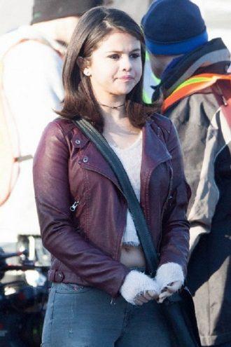 Selena Gomez Maroon Biker Leather Jacket