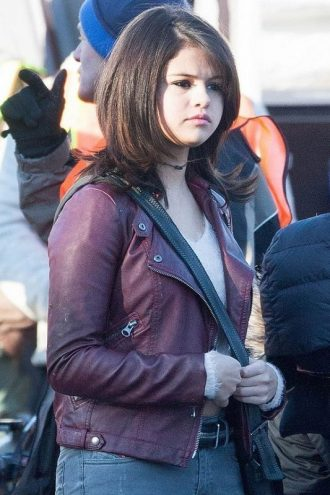 Selena Gomez Maroon Leather Jacket