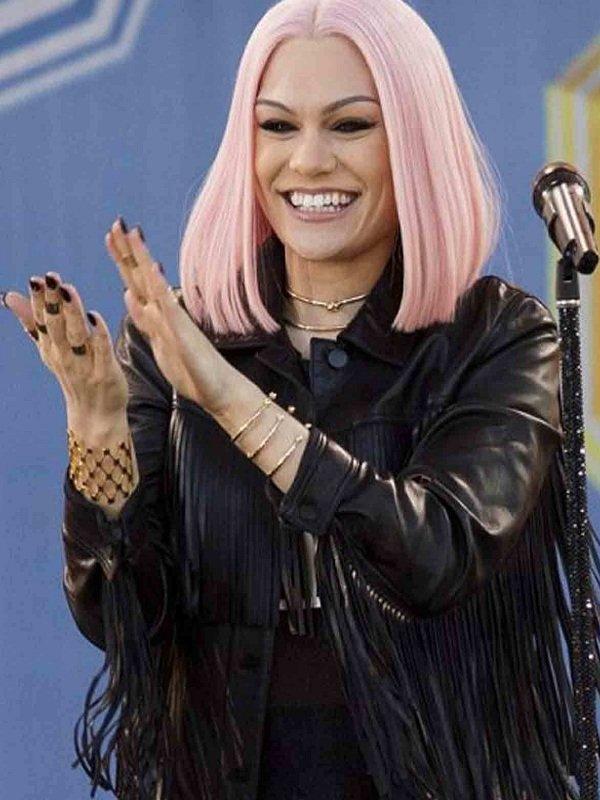 Stylish Jessie Leather J Fringe Black Jacket