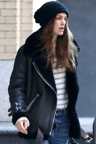 Keira Knightley Shearling Bomber Leather Jacket