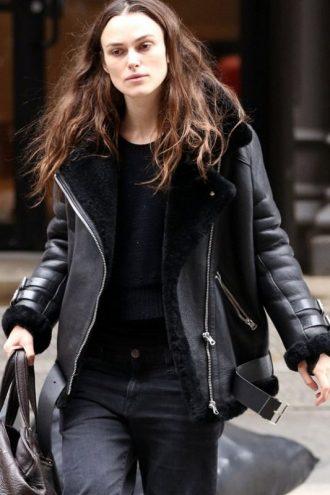 Keira Knightley Shearling Biker Jacket