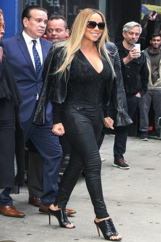 Mariah Carey Black Biker Leather Jacket