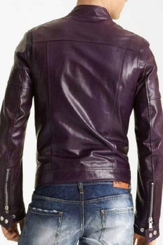 Mens Casual Purple Motorcycle Leather Jacket