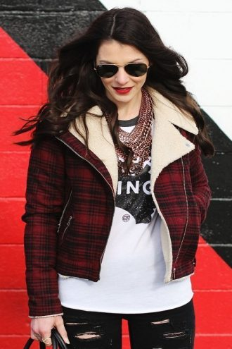 Women Flannel Jackets With Fur Collar