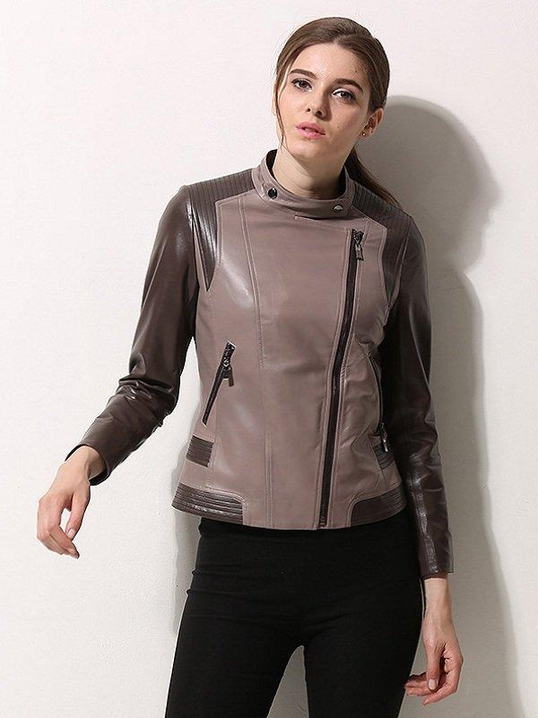 Women Moto Biker Asymmetrical Style Leather Jacket