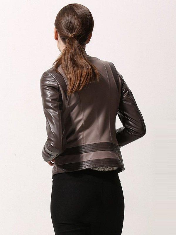 Moto Biker Asymmetrical Style Leather Jacket For Women