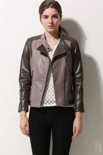 Women Asymmetrical Style Leather Jacket