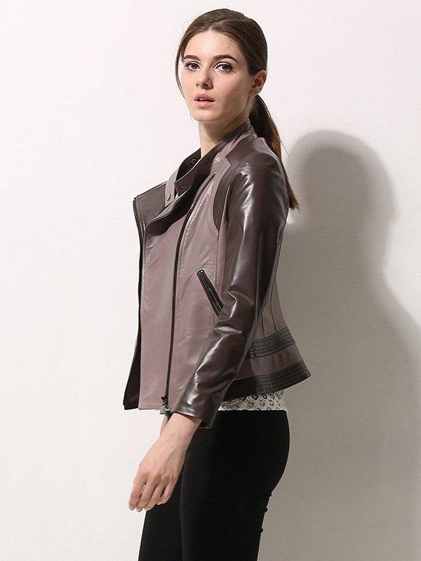 Moto Biker Asymmetrical Style Leather Jacket