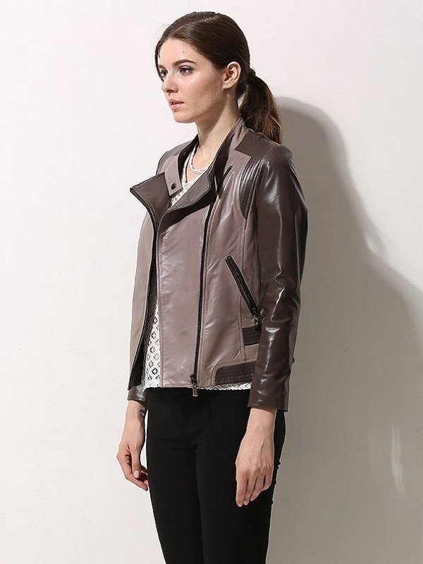 Asymmetrical Style Leather Jacket For Women