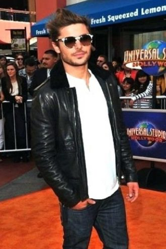 Zac Efron Black Leather Fur Collar Jacket