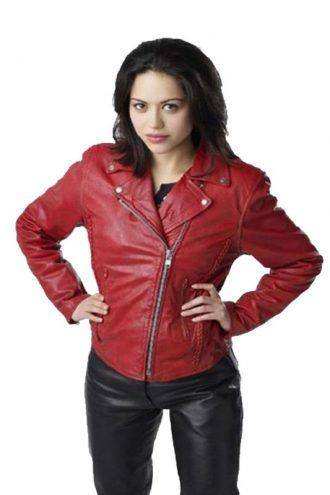 Ben 10 Alien Swarm Alyssa Diaz Red Leather Jacket