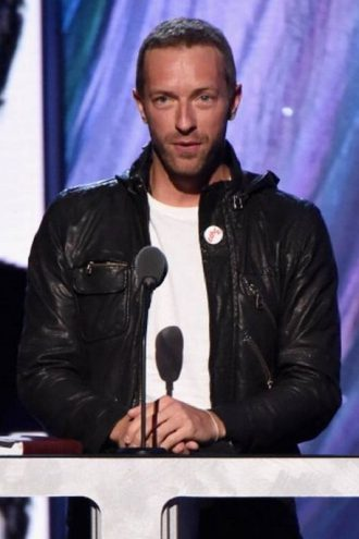 Chris Martin Black Leather Jacket