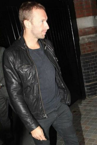 Chris Martin Coldplay Black Leather Jacket