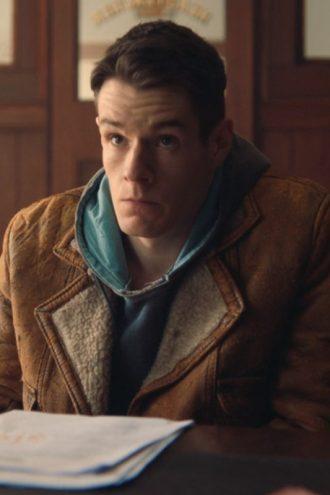 Sex Education Connor Swindells Brown Leather Jacket