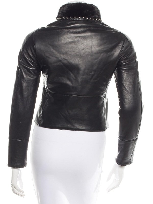 Elle Fanning New York Black Stylish Fur Jacket