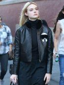 New York Elle Fanning Fur Black Leather Jacket