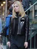 Elle Fanning Stylish Leather Jacket