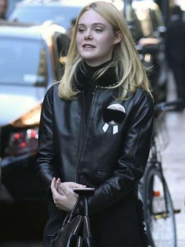 Elle Fanning Stylish Fur Leather Jacket