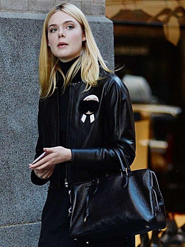 Elle Fanning Stylish Fur Black Leather Jacket