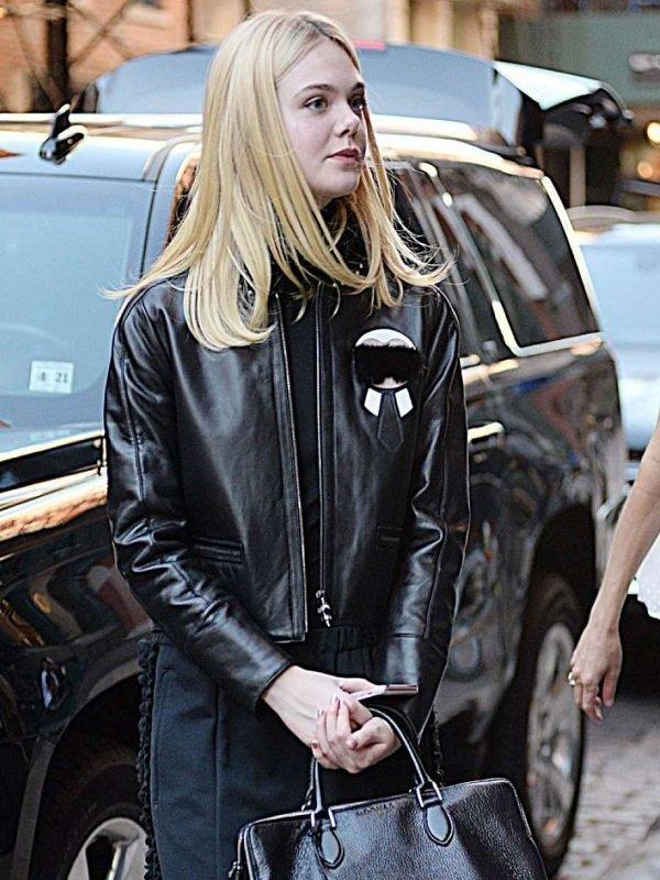 Elle Fanning Stylish Fur Collar Jacket