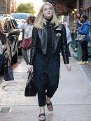 Elle Fanning New York Fur Black Leather Jacket