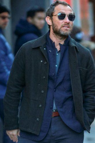 Jude Law The Rhythm Section Wool Black Jacket