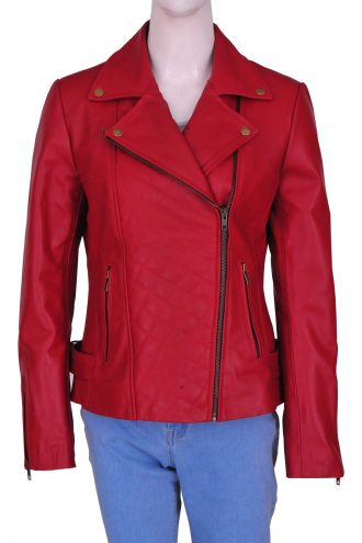 Lily Collins Spider-Man 2 Screening Maroon Biker Jacket