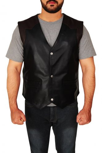 Men's Western Style Cowboy Leather Vest