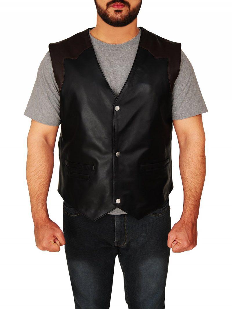 Men's Western Style Cowboy Leather Vest