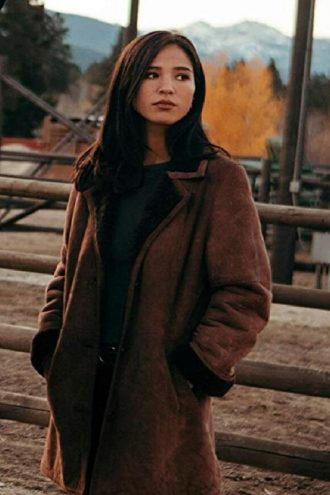 Yellowstone Monica Dutton Suede Brown Coat