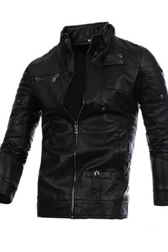 Motorcycle Jacket, Stand Collar Brown