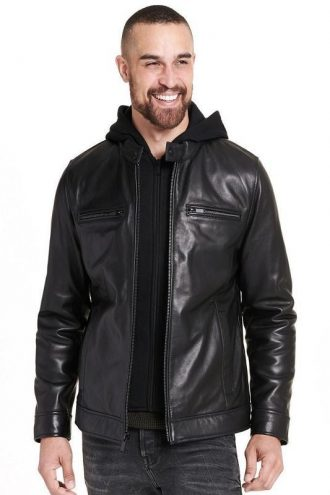 Leather jacket, SMOOTH Man's Black Hood