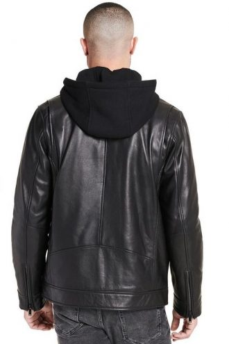 LEATHER Jacket, Removable Hood