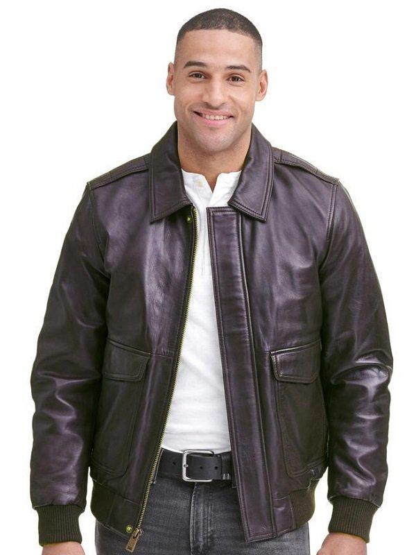 Black Leather Jacket, FLAG PRINT LINING