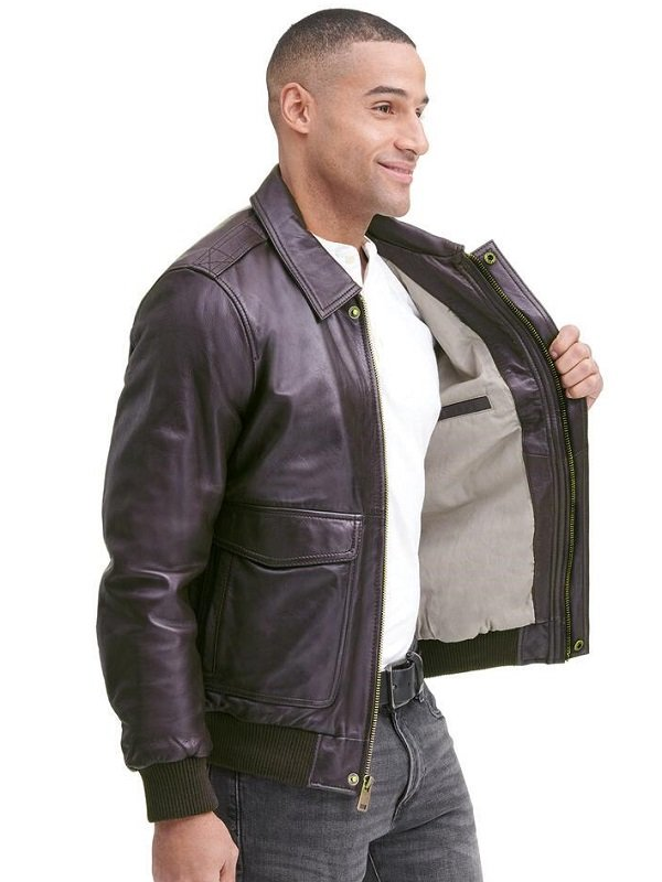 Brown Bomber, Leather Jacket