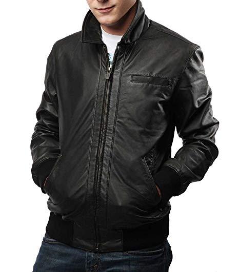 Men's Slim fit, leather jacket