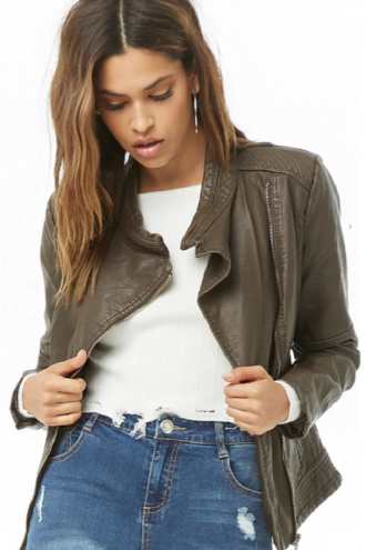Women's fashion, Faux Leather Jacket