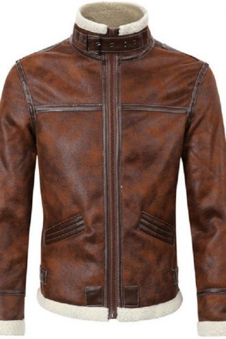 Brown Leather Jacket, men's fashion