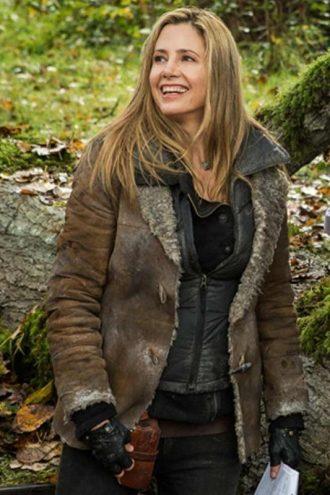 Sara Falling Skies Mira Sorvino Brown Fur Jacket