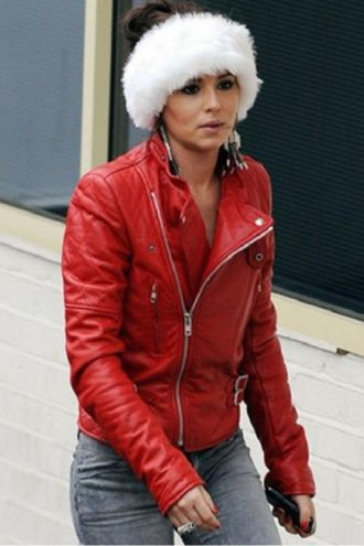 Santa Claus Inspired Cheryl Cole Red Biker Jacket
