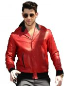 London Visit Nick Jonas Red Real Leather Jacket