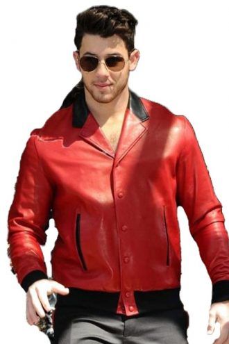 London Visit Nick Jonas Red Real Leather Jacket