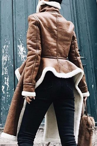 Real Leather Turtleneck Brown Coat With Fur