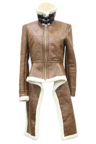 Real Leather Turtleneck Brown Women Coat With Fur