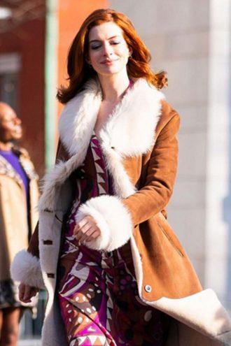 Anne Hathaway Brown Fur Coat in Modern Love (3)